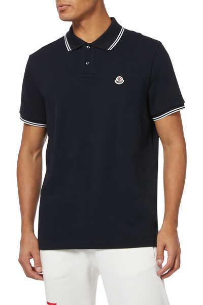 Stripe Trim Piquet Polo Shirt