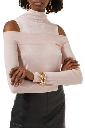 Turtle Neck Rib-knit Top