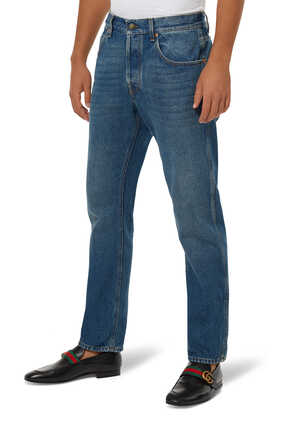Tapered washed jeans