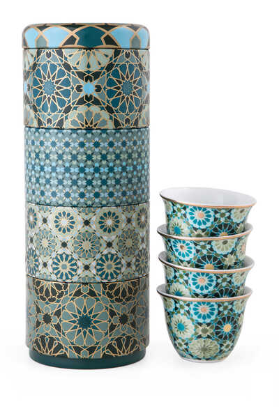 Andalusia Tin Box With Cups, Set of Four