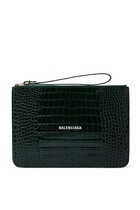 Croc-Embossed Leather Pouch