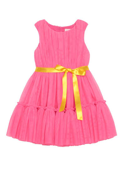 Sleeveless Belted Tulle Dress