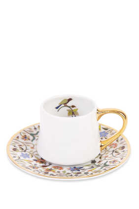 Floral Cylinder Espresso Cup and Saucer
