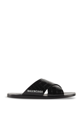 Croc-Embossed Cosy Sandals