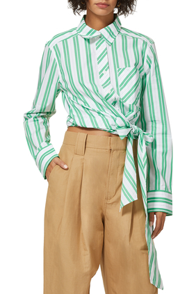 Stripe Cotton Wrap Shirt