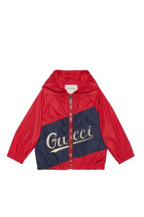 Nylon Jacket With Gucci Script