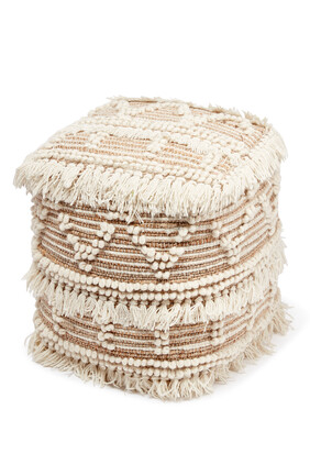 Embroidered Tassel Pouf