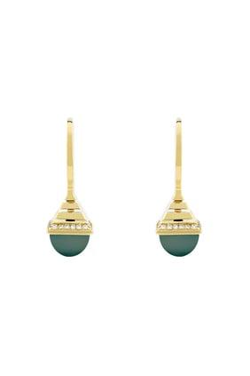 Cleo Mini Rev Green Agate & Diamond Drop Earrings in 18kt Yellow Gold