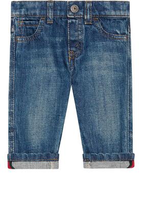 Washed Denim Pants