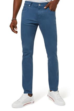 Slim Fit Stretch Cotton Five Pocket Pants