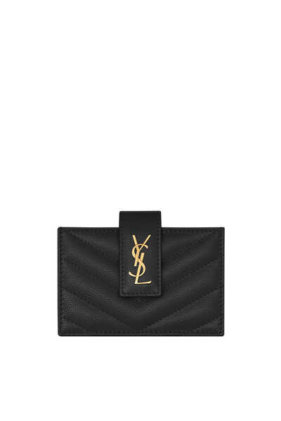 Monogram Business Card Case in Grain de Poudre Embossed Leather