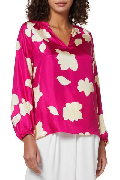 Petal Print Silk Blouse