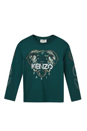 JB LS T-SHIRT W ELEPHANT PRINT AND KENZO IN WHITE:Green :2Y