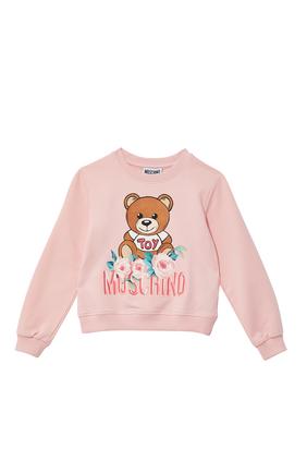 Teddy Bear Flowers Logo Print Sweatshirt