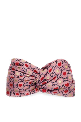 GG and Hearts Print Silk Headband