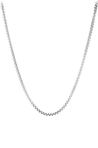 Large Box Chain Silver Necklace