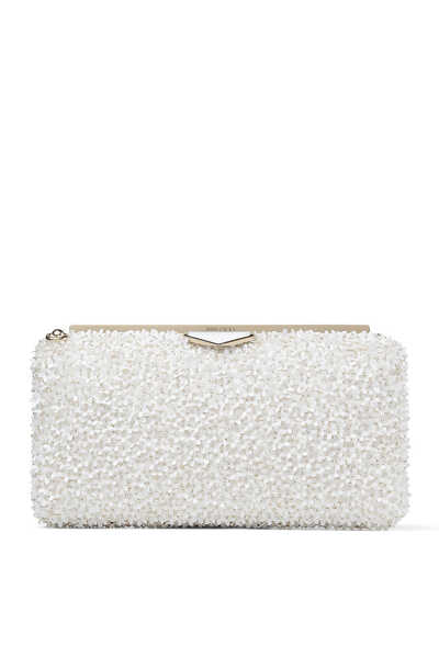 Ellipse Flower Sequin Suede Clutch Bag
