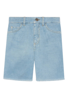 Corduroy Shorts with Gucci Label