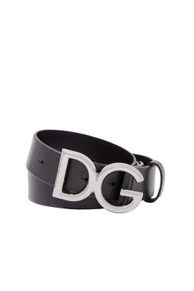 DG Logo-Buckle Leather Belt