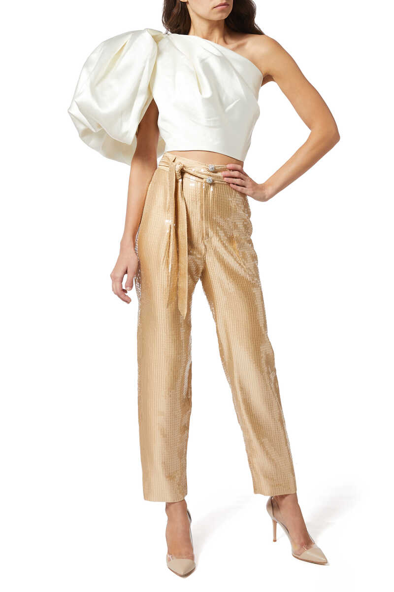 High Waisted Sequinned Tapered Pants image number 2