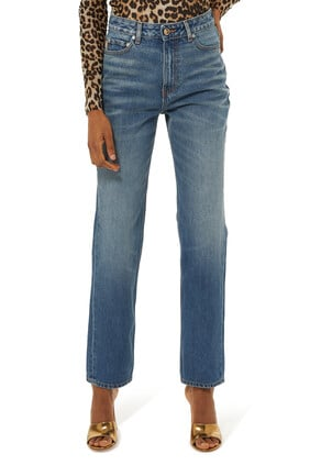 Washed High-Rise Jeans