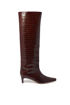 Wally Croc-Embossed Thigh Boots