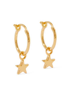 Mini Star Moon Charm Hoop Earrings