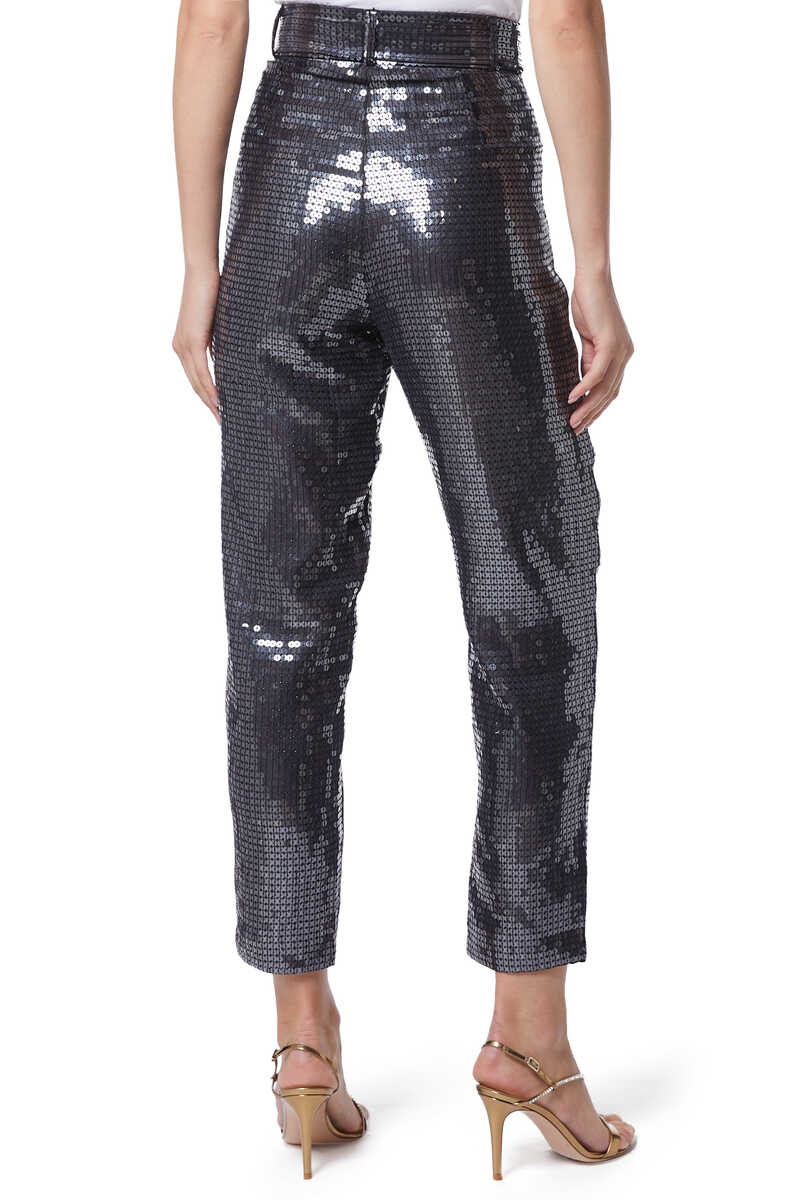 High-Waisted Sequined Tapered Pants image number 3