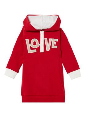 Love Print Hoodie Dress