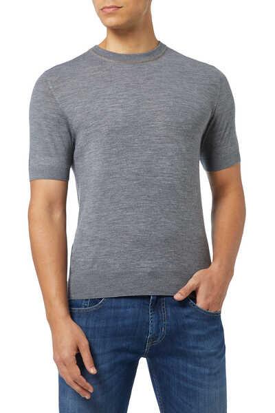 Contrast Crewneck Cotton T-Shirt