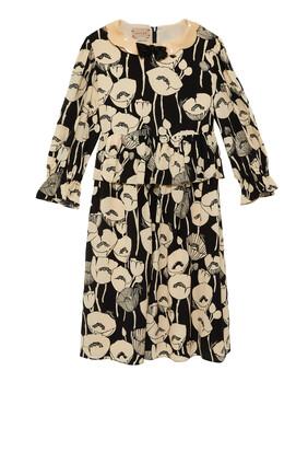 Silk Print Dress With Bow