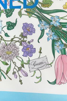 Gucci 100 Flora Print Twill Square Scarf