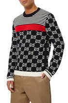 GG And Stripes Jacquard Pullover