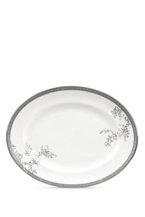Vera Wang Lace Platinum Oval Dish 35cm