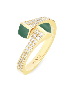 Cleo Green Agate Wrap Ring in 18kt Yellow Gold