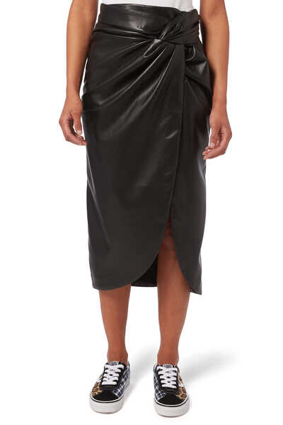 Vegan Leather Twist Skirt