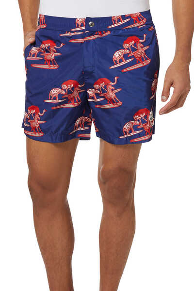 1952 Zebra Print Swim Shorts