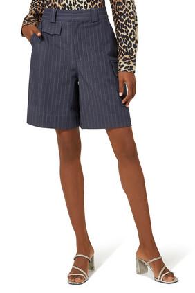 Pinstriped High-Waisted Shorts