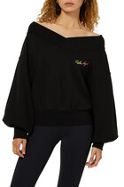 Off-The- Shoulder Logo Sweatshirt