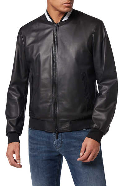 EA Collar Leather Bomber Jacket