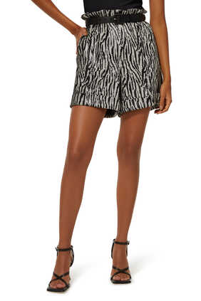 Zebra-Sequinned Paperbag-Waist Shorts