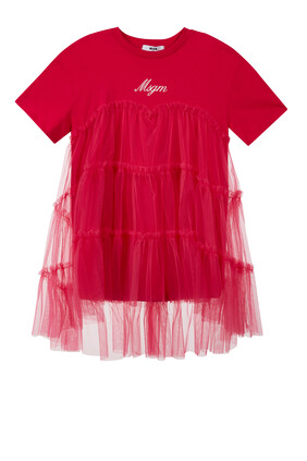 Cotton and Tulle Logo Dress