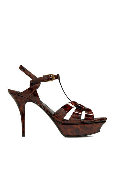 Tribute Platform Sandals in Tortoiseshell Patent Leather