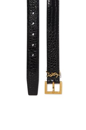 Monogram Belt with Square Buckle In Crocodile Embossed Leather