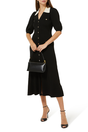 Contrast Collar A-Line Dress