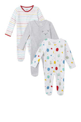 Bear Sleepsuit, Set of Three