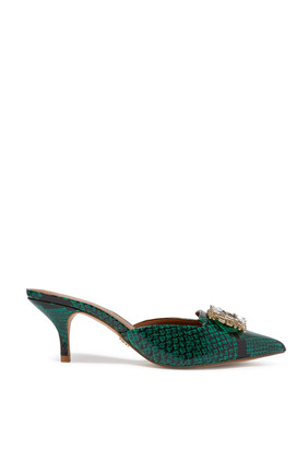 Pia Snake Print Leather Mules