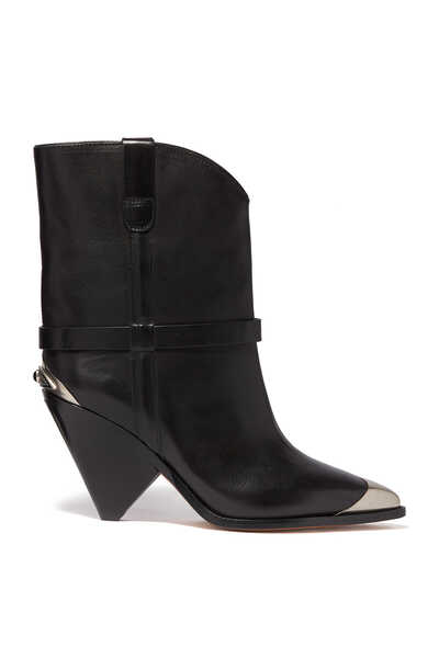 Lamsy Cone Heel Western Ankle Boots
