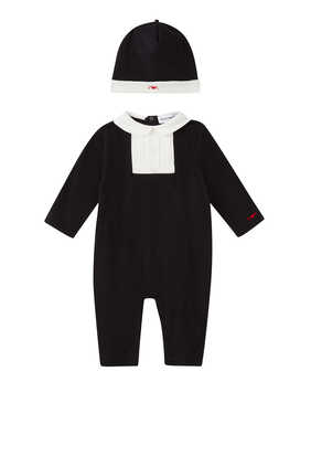 Holiday Tuxedo Jersey Jumpsuit & Hat Set