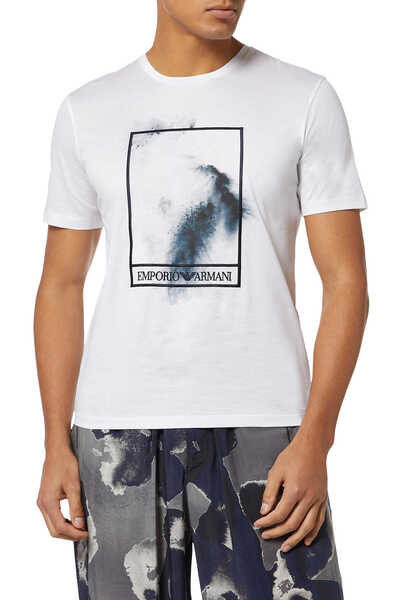 Embroidered Frame Watercolour Print T-Shirt